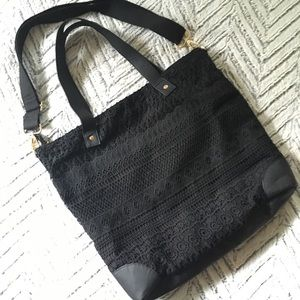 Merona Black Crochet Overlay Canvas Tote